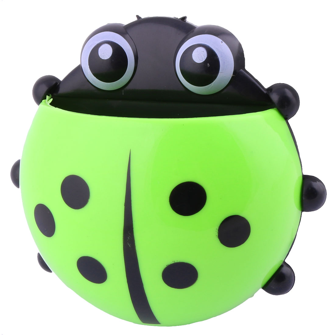 Household Plastic Beetle Shaped Toothbrush Holder Green Black w Suction Cup