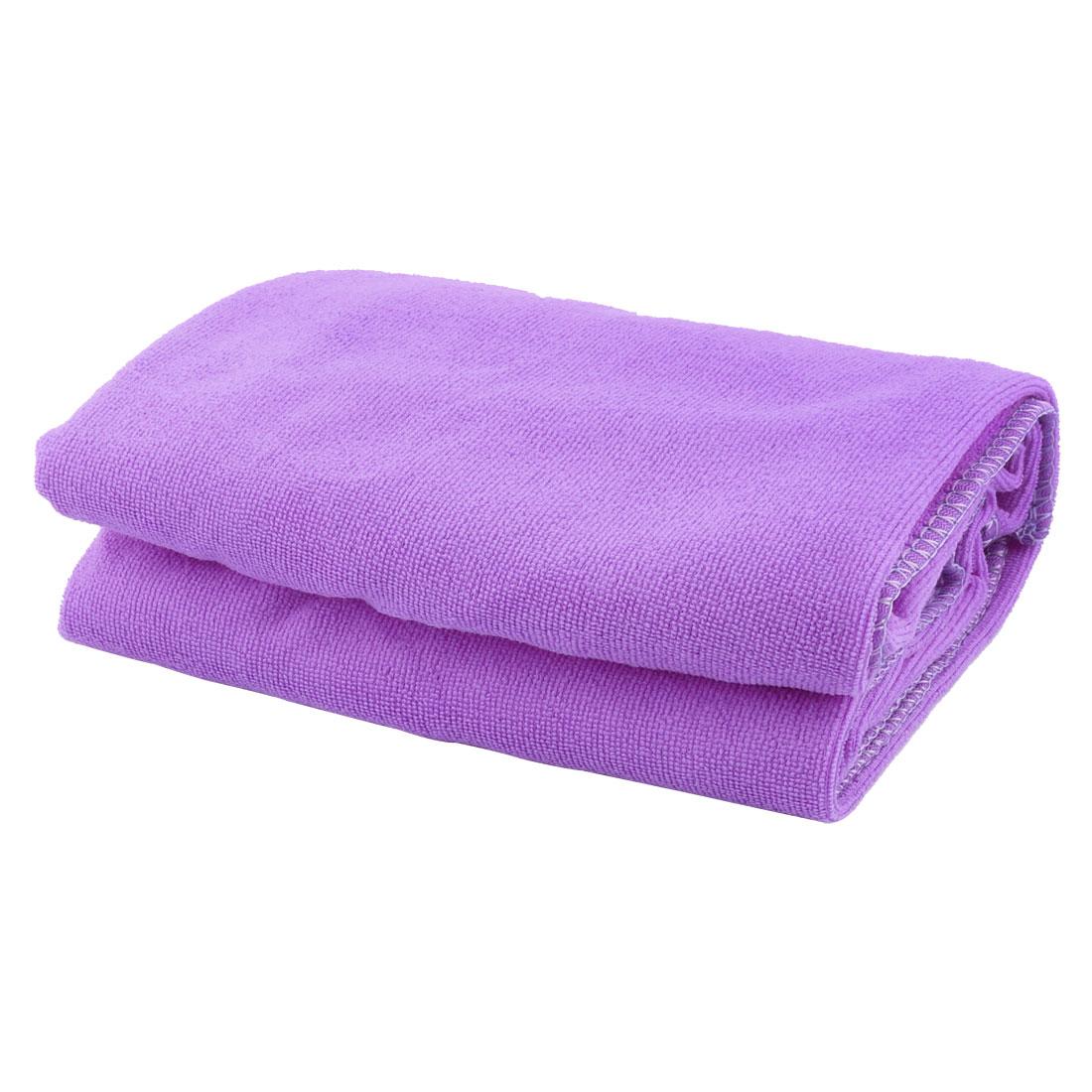 Household Hotel Beach Terry Rectangular Shaped Bath Towel Purple 70cm x 140cm