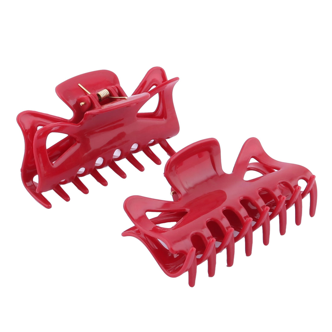 Women Plastic DIY Craft Hair Claw Clip Clamp Hairpin Red 2 Pcs