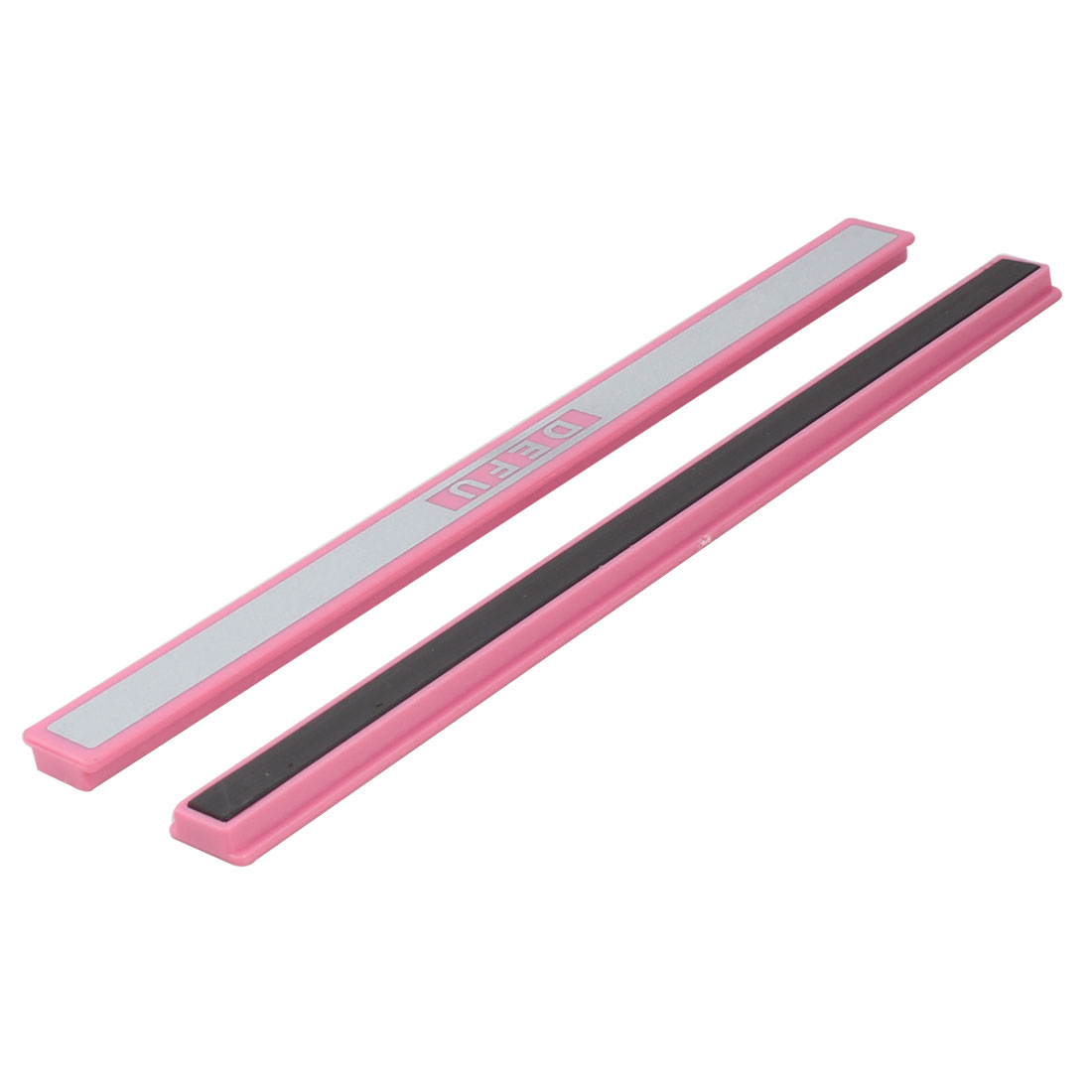 Office School Plastic Rectangular Shaped Appliances Magnetic Stripe Pink White 20cm Long 2 Pcs