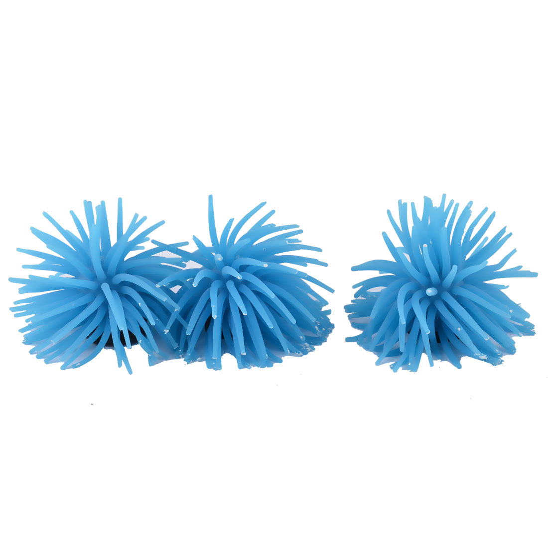 Aquarium Ceramic Base Rubber Artificial Sea Hedgehog Decoration Blue 3 Pcs