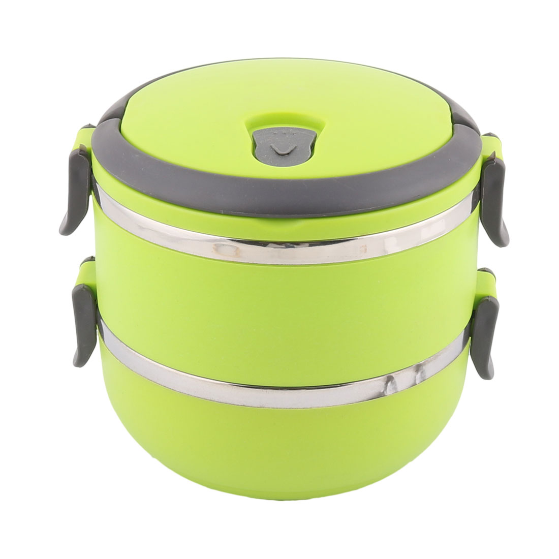 Home School Office Plastic Handle Stainless Steel Double Layers Lunch Box Food Container Green