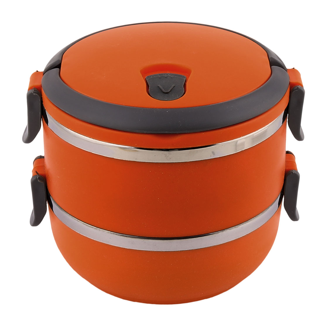 Home School Office Plastic Handle Stainless Steel Double Layers Lunch Box Food Container Orange