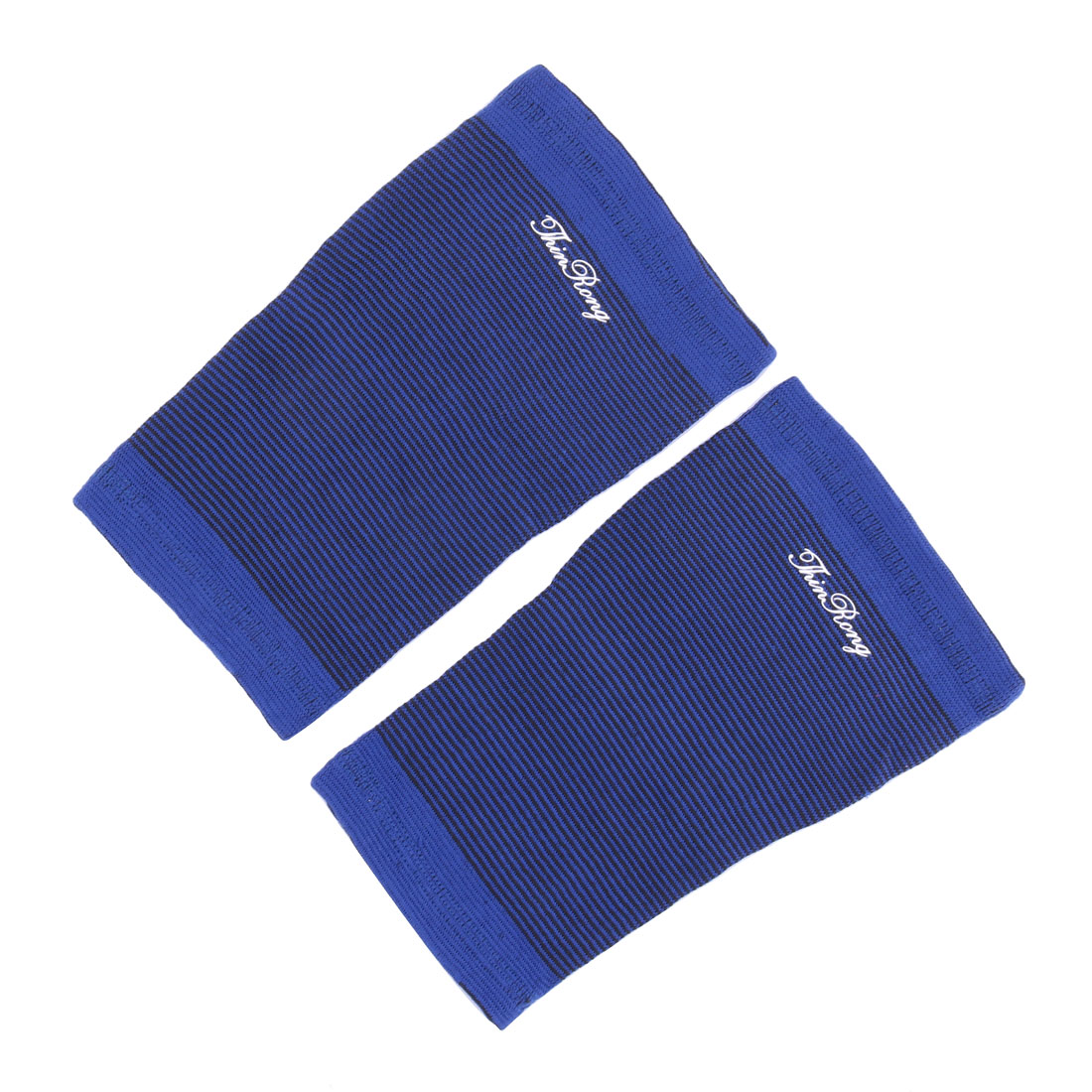 Sports Exercise Running Cotton Blends Pinstriped Calf Support Blue Black 2pcs