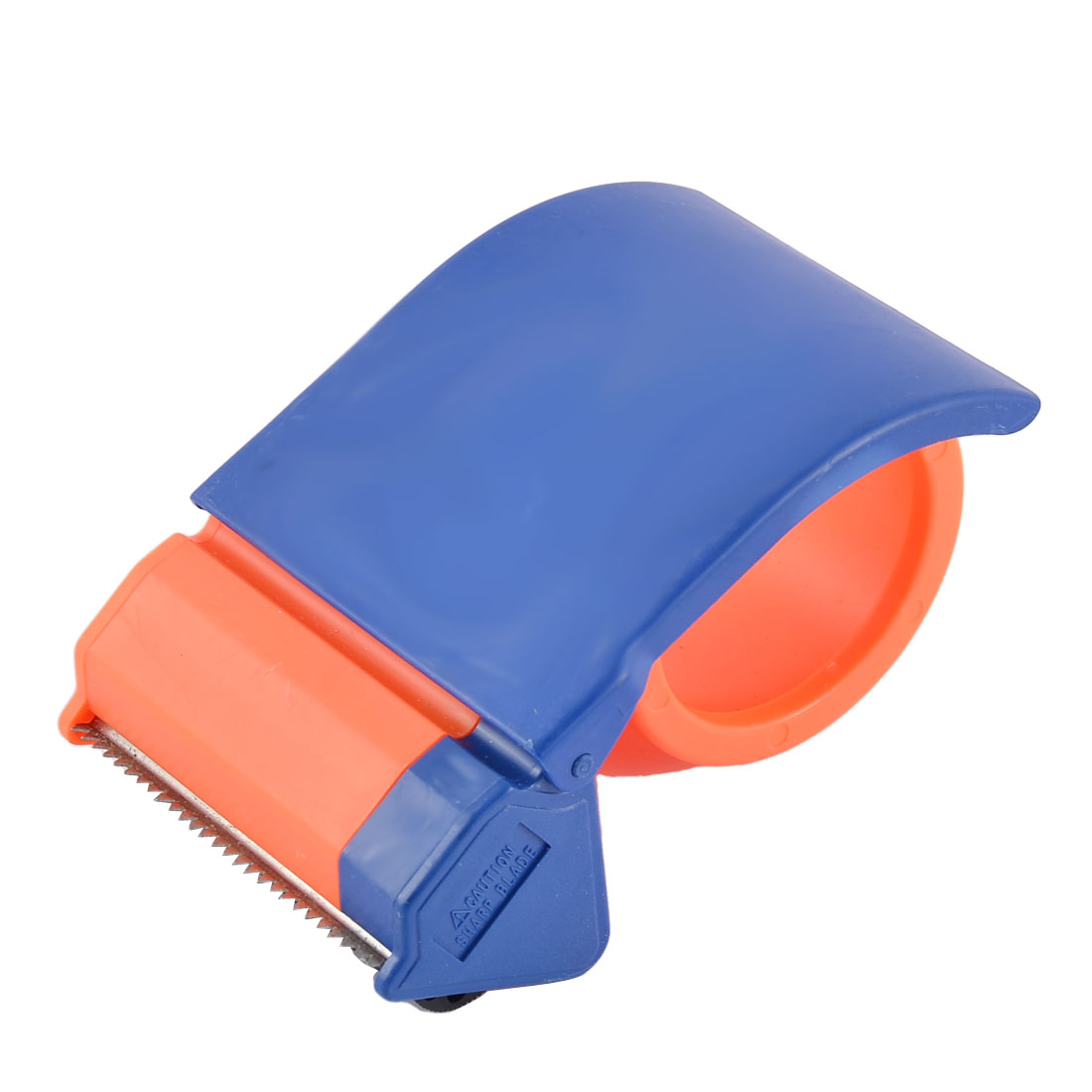 School Office Plastic Sealing Packaging Tape Dispenser Blue Orange 7cm Wide