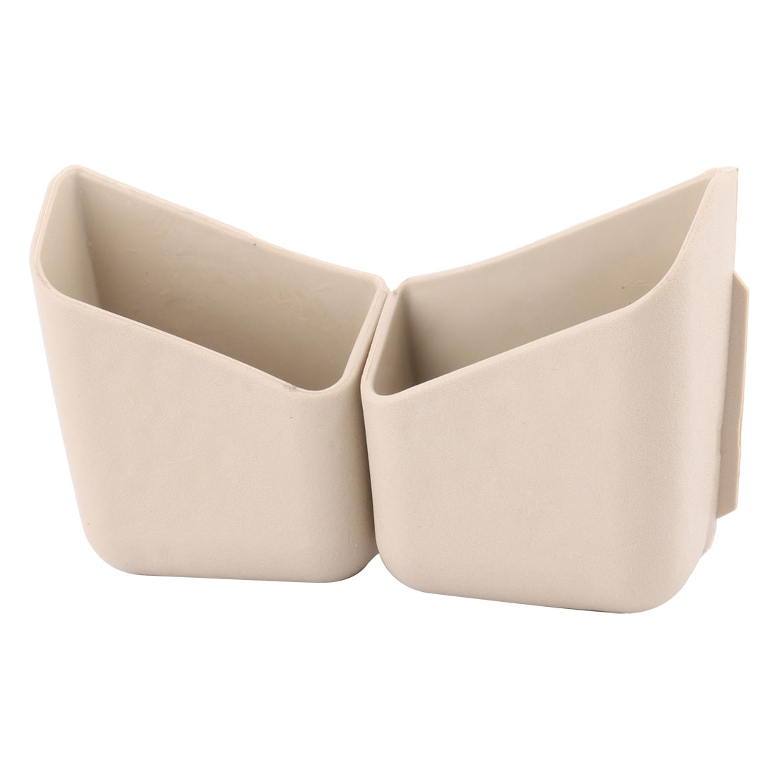 Car Interior Plastic Mobile Phones Pillar Pocket Holder Container Beige 2 Pcs