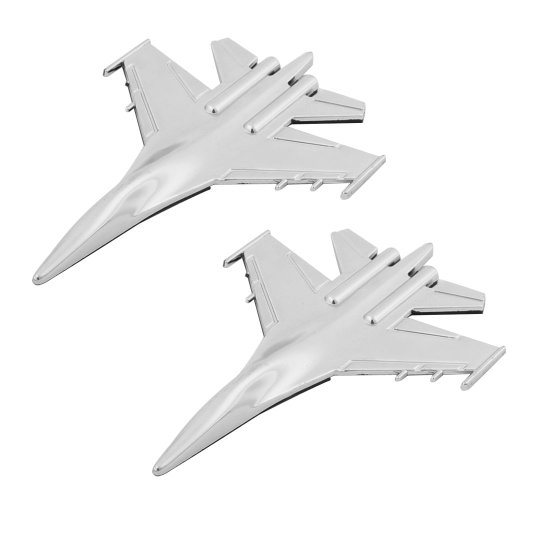 Plastic Airplane Shaped Adhensive Car Sticker Silver Tone 2 Pcs
