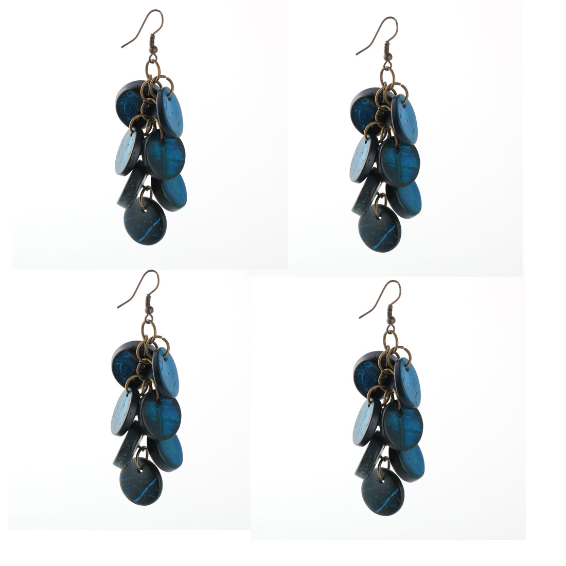Lady Grape Design Beaded Decor Pendant Ear Hook Danglings Earrings 2 Pairs