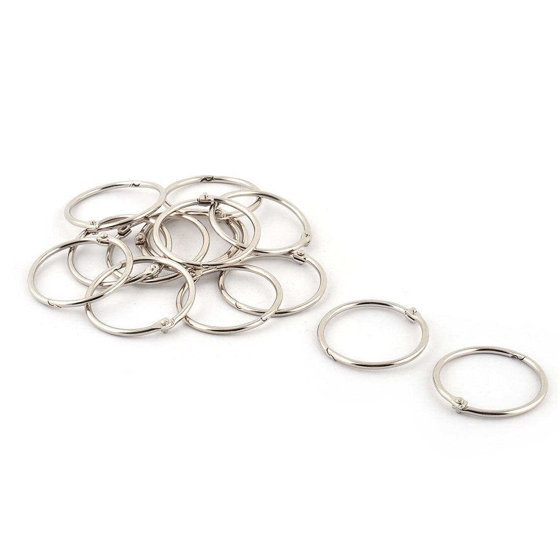 Metal Keyring Scrapbook Memo Loose Leaf Ring Silver Tone 38mm Inner Dia 14 Pcs