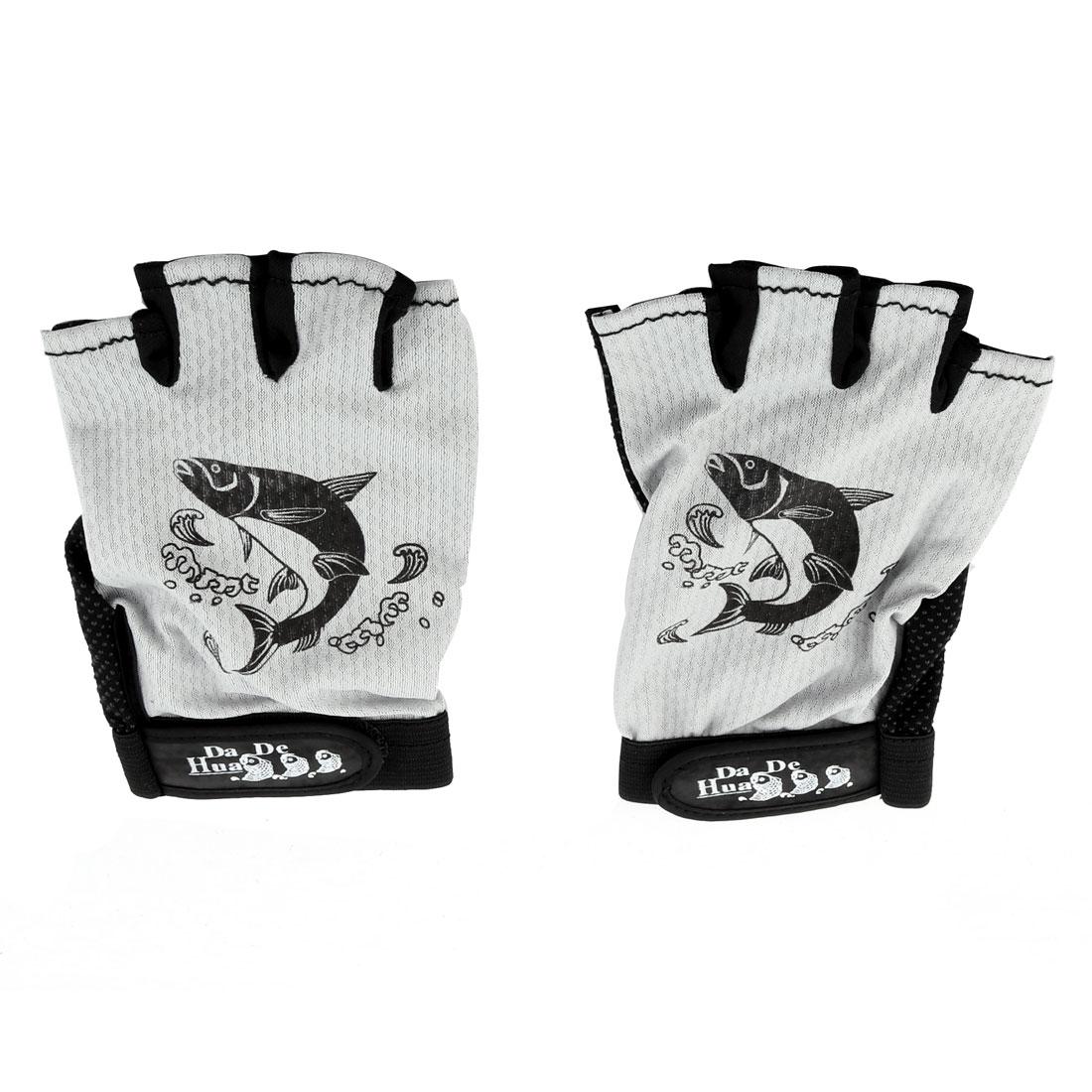 Fisherman Fishing Nylon Half Finger Hook Loop Antislip Gloves Gray Black Pair