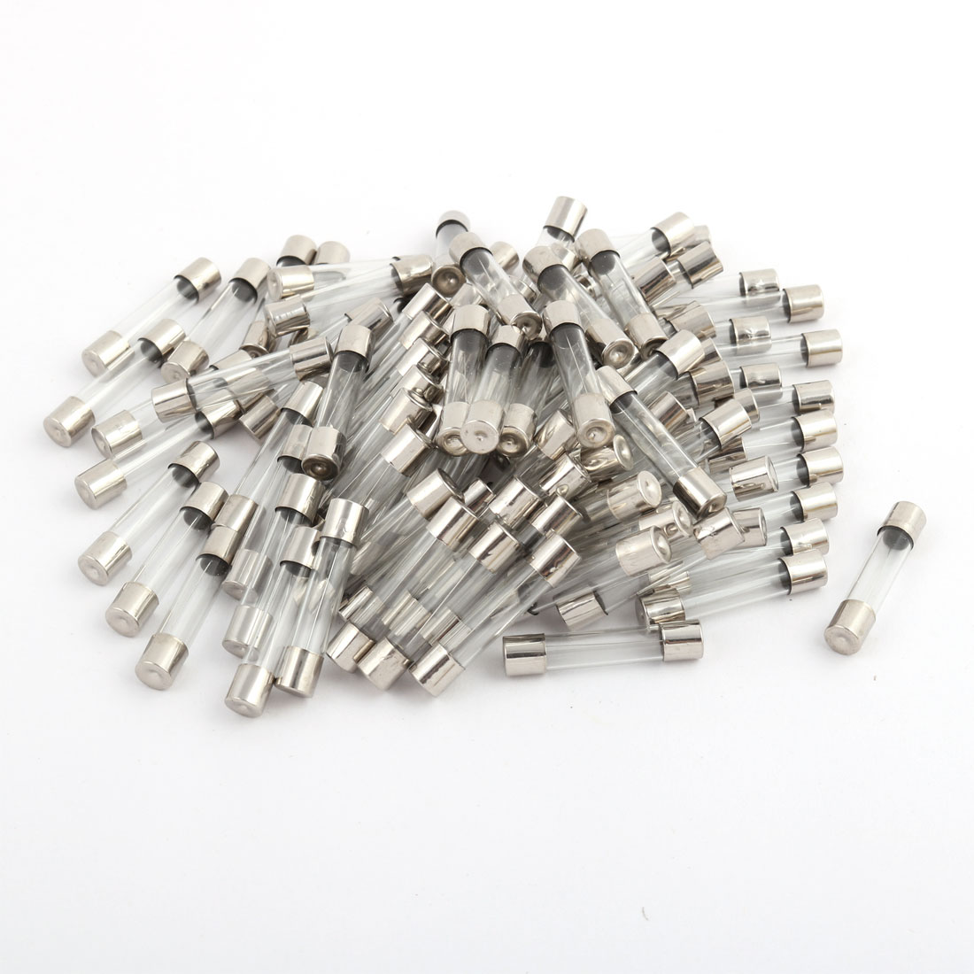 100 Pcs 250V 5A 6mm x 30mm Glass Tube Fuse Silver Tone for Electric Safety