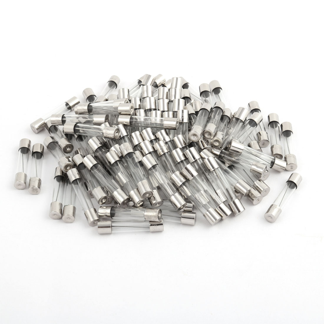 100 Pcs 250V 12A 6mm x 30mm Glass Tube Fuse Silver Tone for Electric Safety