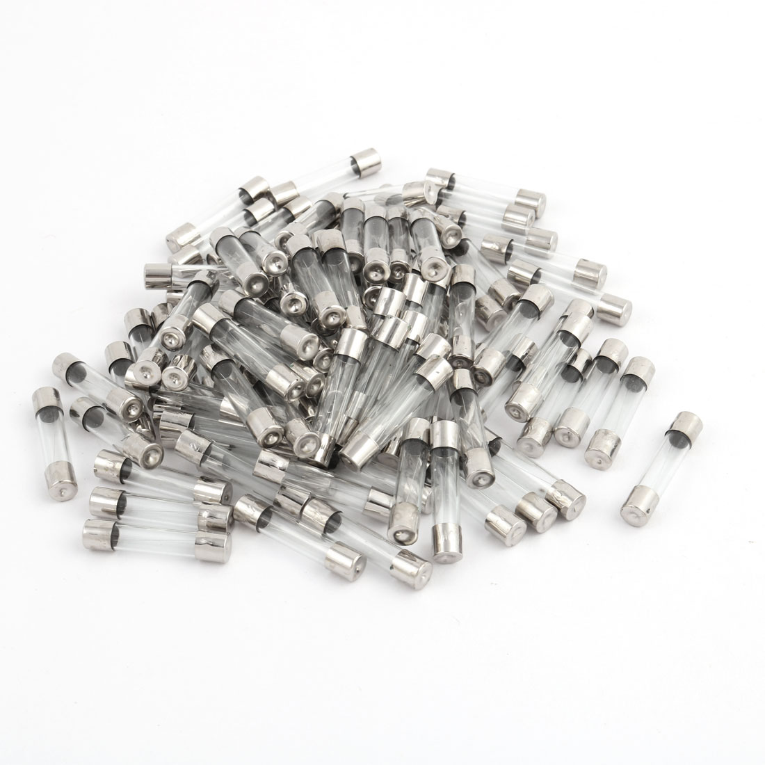 100 Pcs 250V 3A 6mm x 30mm Glass Tube Fuse Silver Tone for Electric Safety