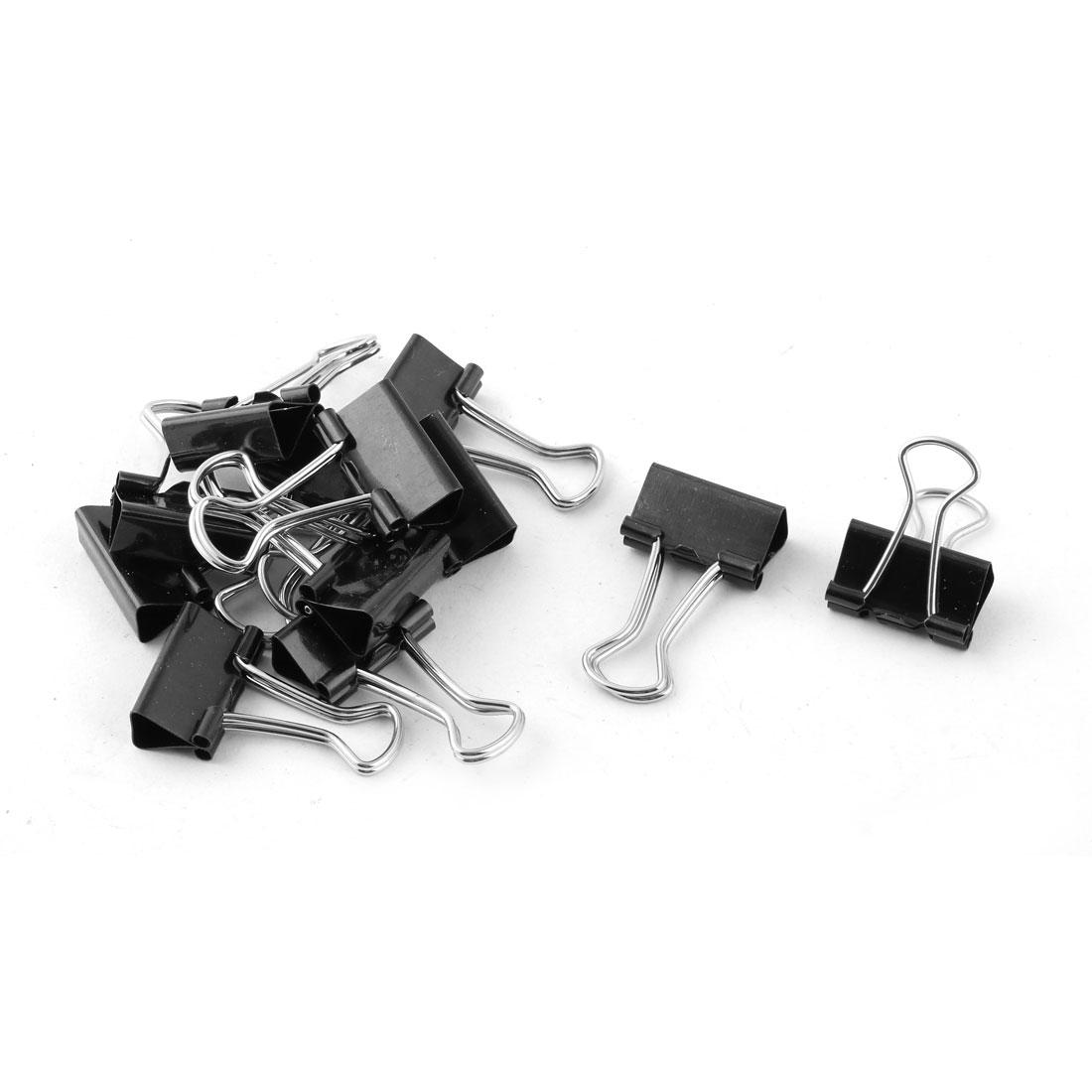 Office Supplies Folder Paper Money Binder Clip Black Silver Tone 12pcs