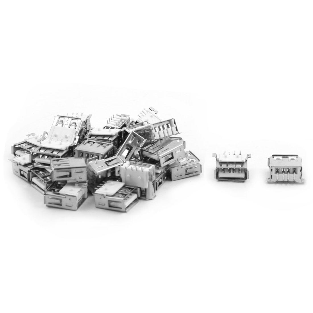 DIY Craft USB 2.0 Port Type A 4 Pin Female Socket Connectors 30pcs for PCB