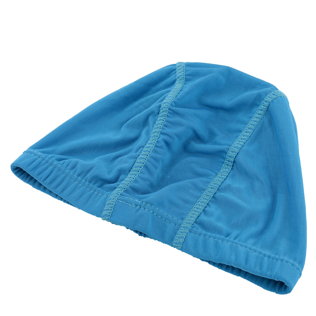 Swimming Elastic Fiber Dome Shape Headgear Headpiece Stretchy Hat Cap Blue