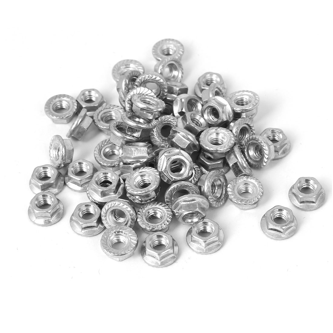 M4 Thread 4mm Height Carbon Steel Serrated Hex Flange Nuts DIN 6923 60PCS