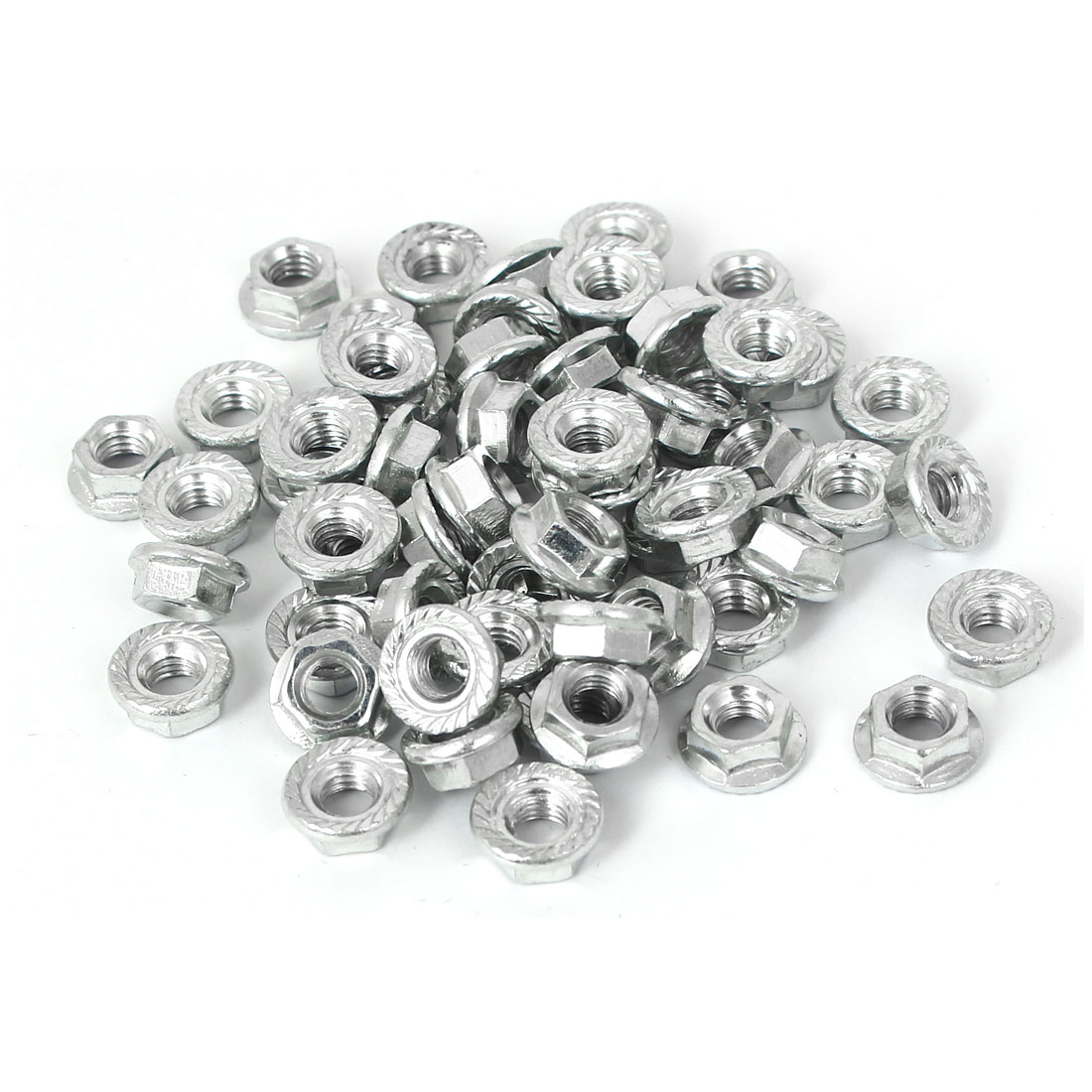 M5 x 0.8mm Pitch 5mm Height Carbon Steel Serrated Hex Flange Nuts DIN 6923 60PCS