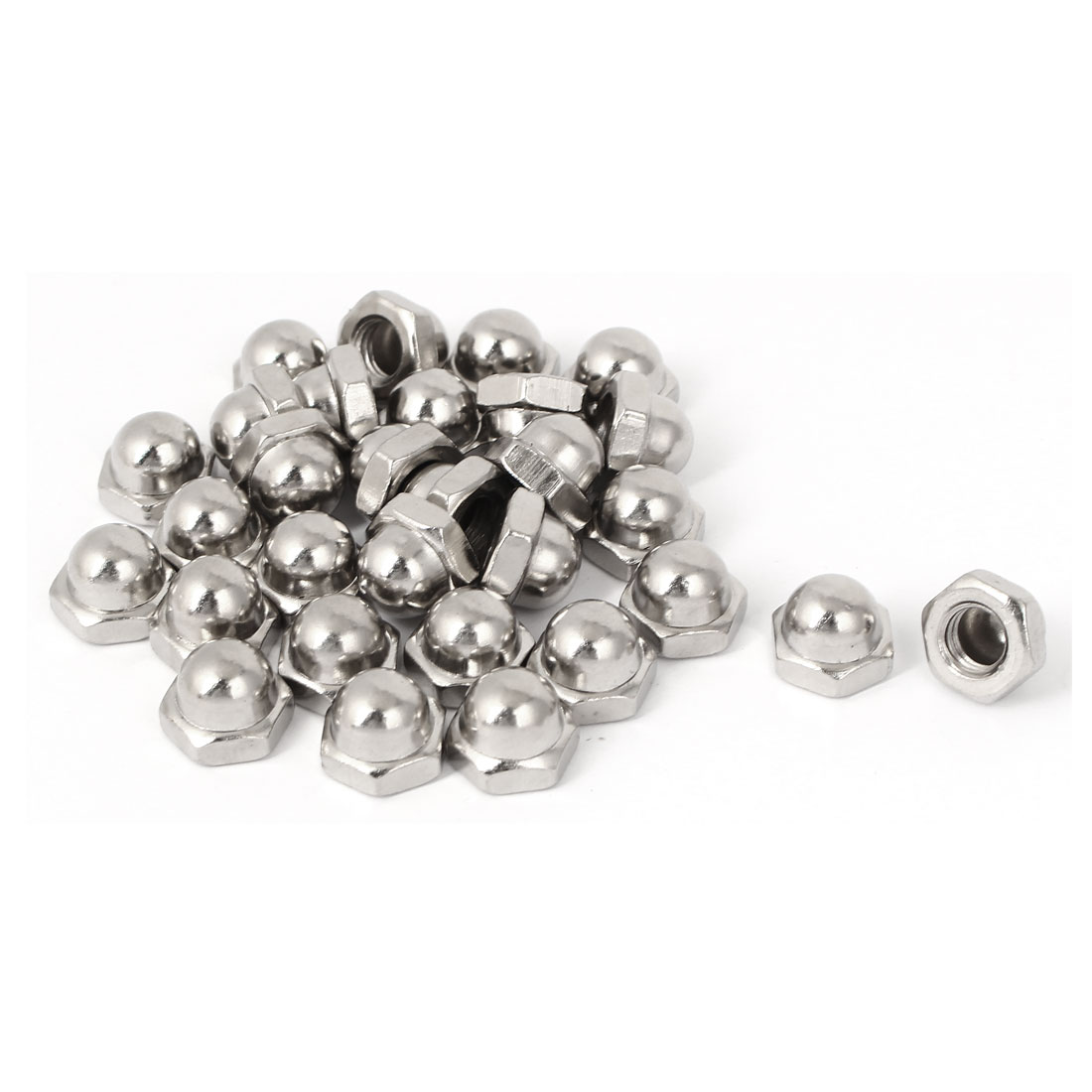 M8 x 1.25mm Pitch Carbon Steel Dome Head Hexagon Caps Cover Nuts DIN1587 30PCS