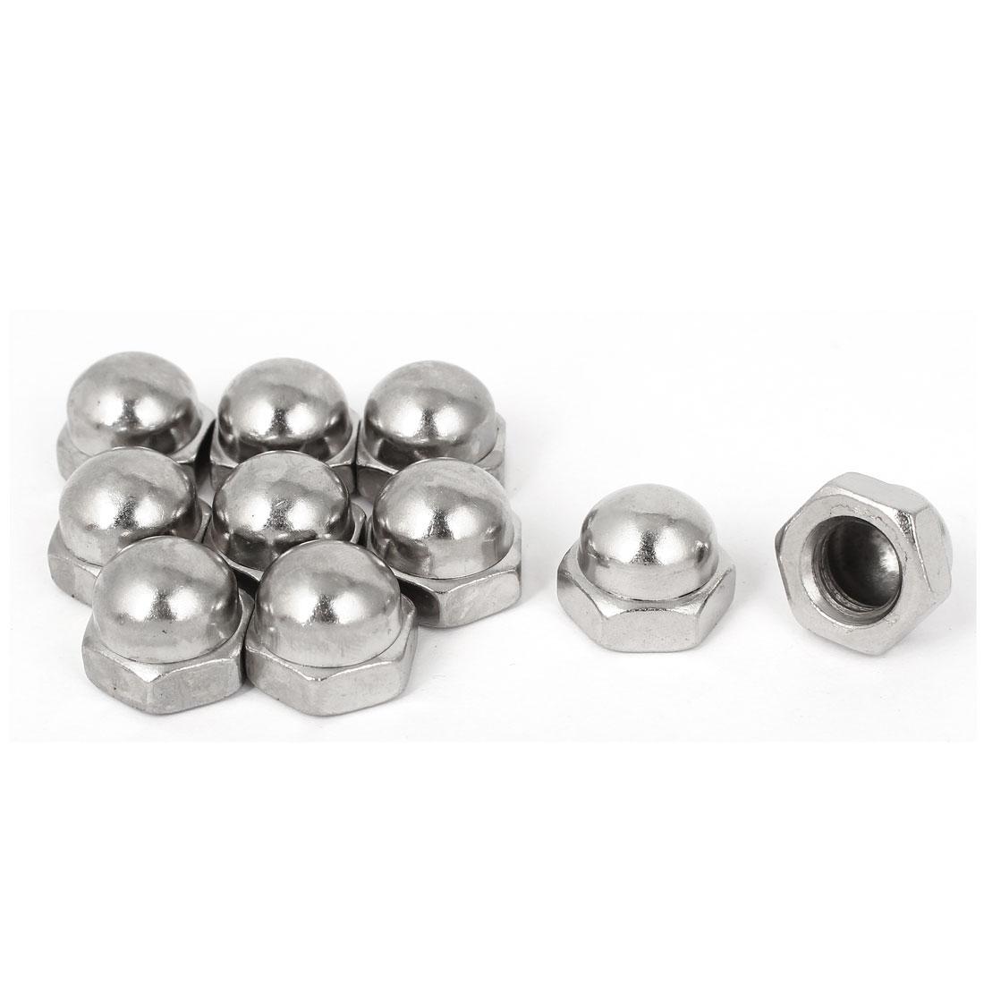M12 x 1.75mm Pitch Carbon Steel Dome Head Hex Acorn Caps Nuts DIN1587 10PCS