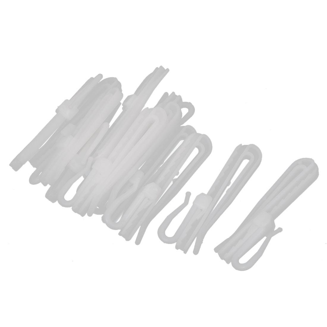 12pcs 7cm Length White Plastic Window Curtain Adjustable Hooks Hangers Clips
