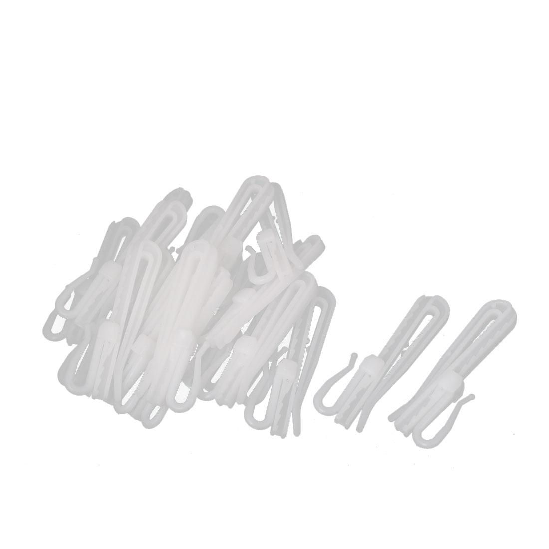 20pcs 7cm Length White Plastic Window Curtain Adjustable Hooks Hangers Clips