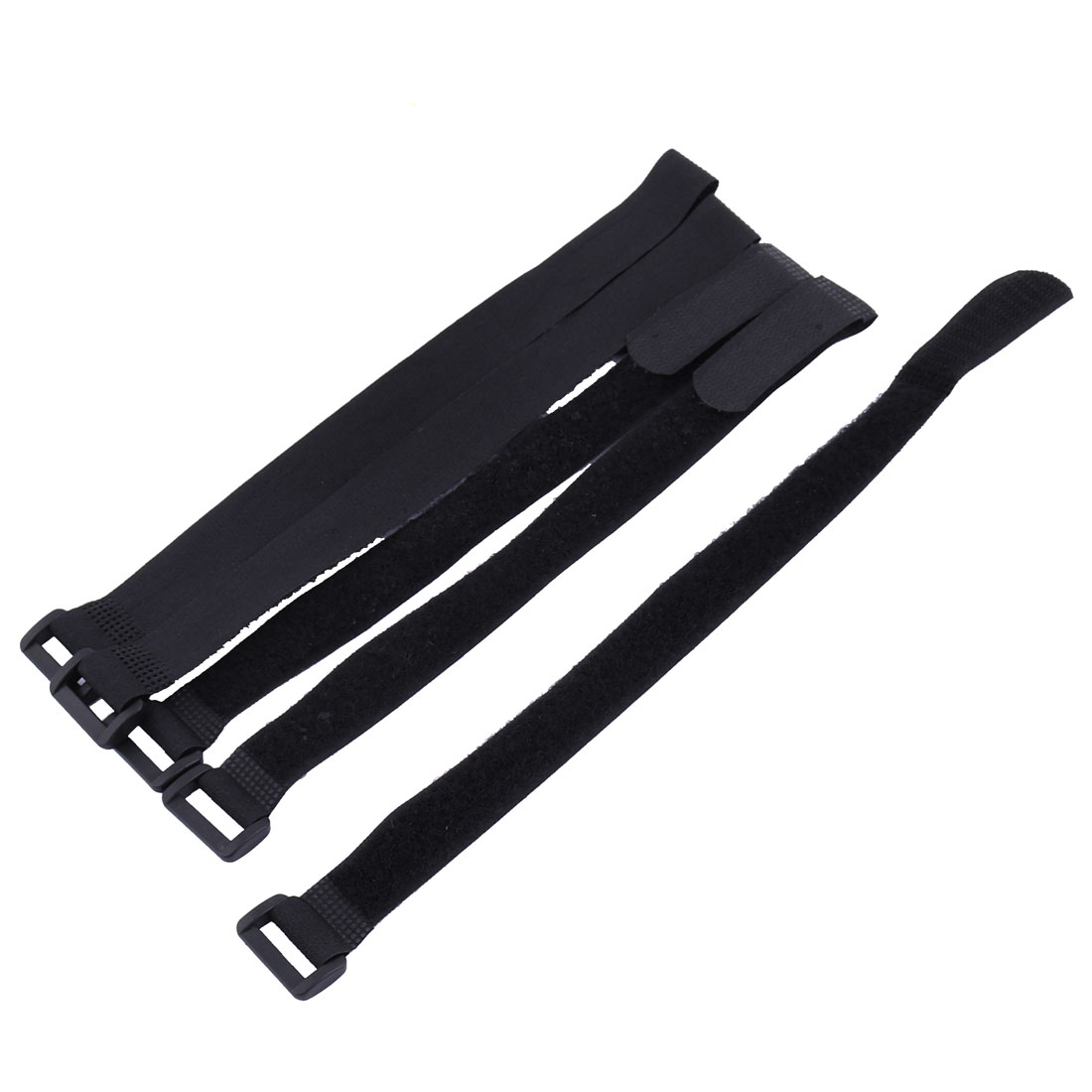 Sticky Hook Loop Adjustable Cable Ties Self Adhesive Fastener Black 5pcs