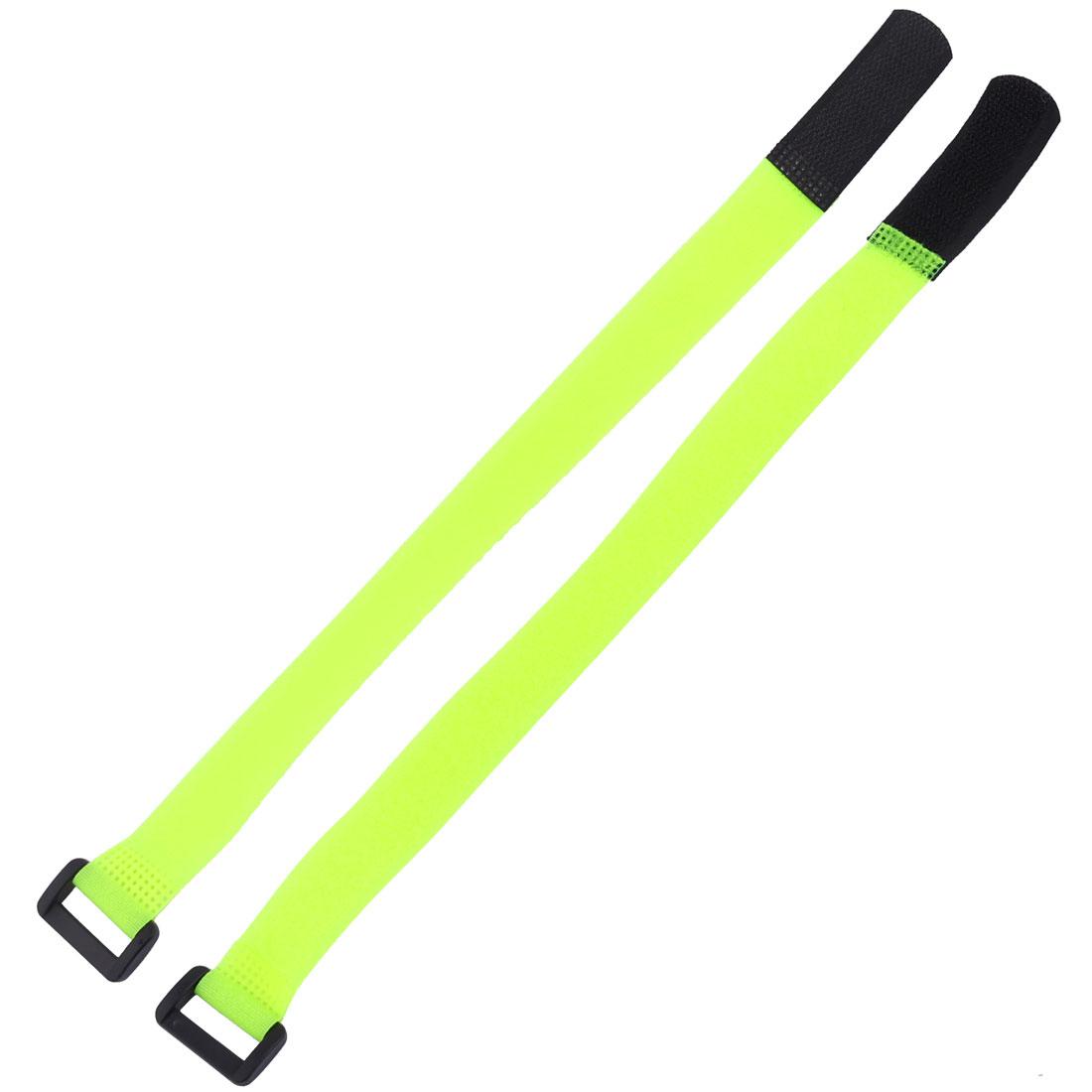 Sticky Hook Loop Adjustable Cable Ties Self Adhesive Fastener Light Yellow 2pcs