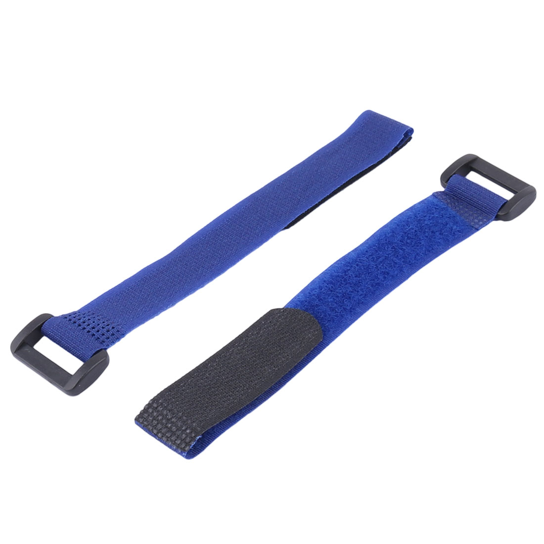 Nylon Sticky Hook Loop Adjustable Cable Ties Self Adhesive Fastener Blue 2pcs