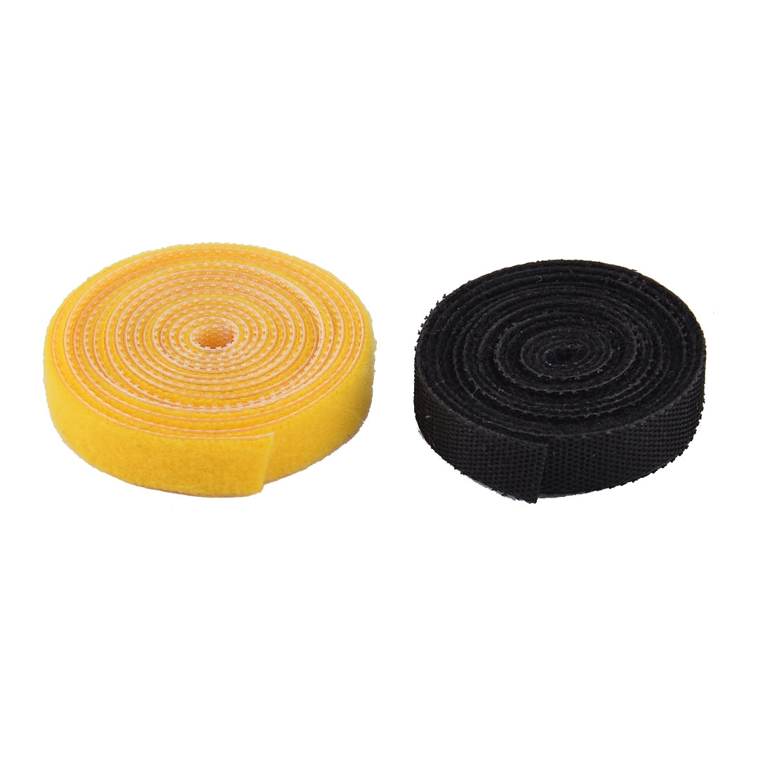 Nylon Household Sticky Self Adhesive Fastener Tape Roll Black Yellow 2 in 1