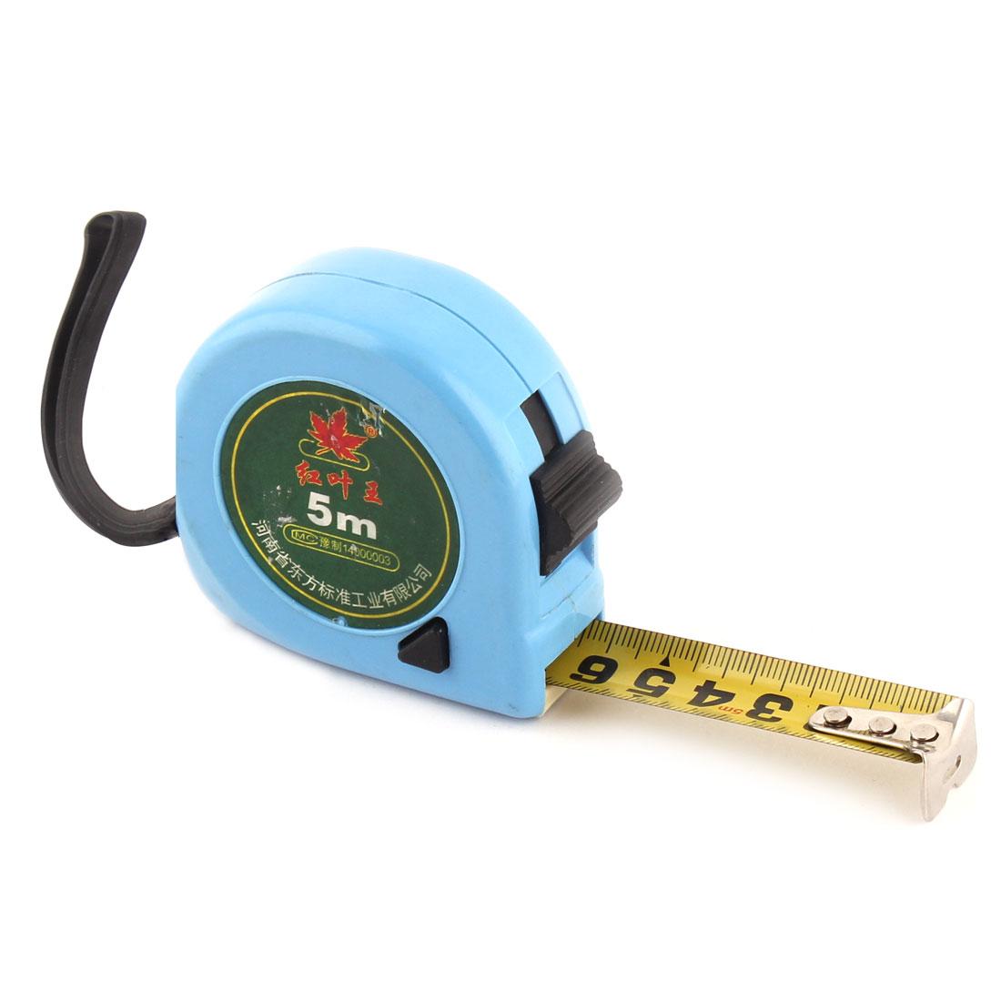 Plastic Shell Retractable Flexible Metal Tape Measuring Ruler 5 Meter Bule