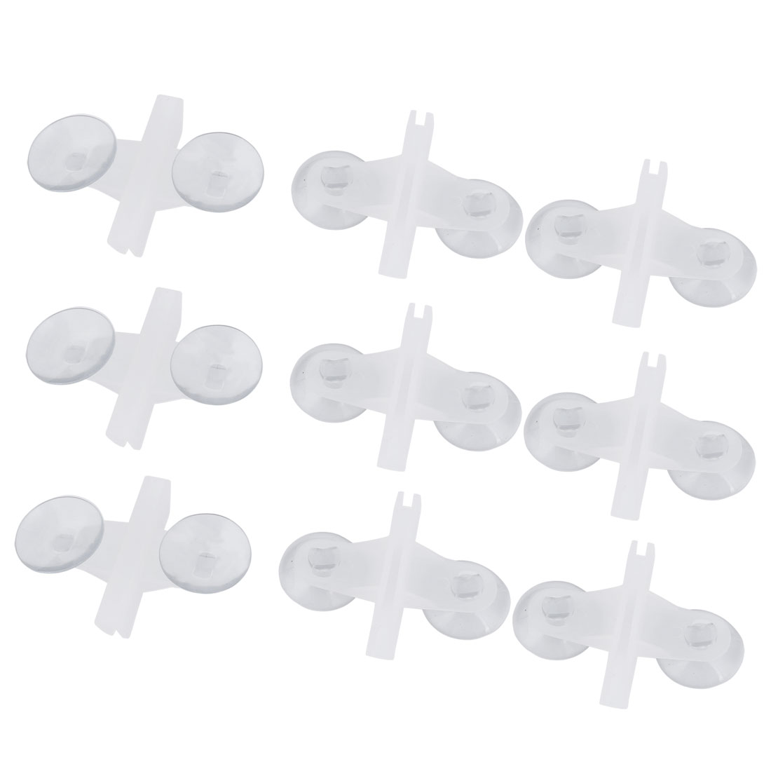 Plastic Double Suction Cup Fish Tank Divider Sheet Glass Holder White Clear 9pcs