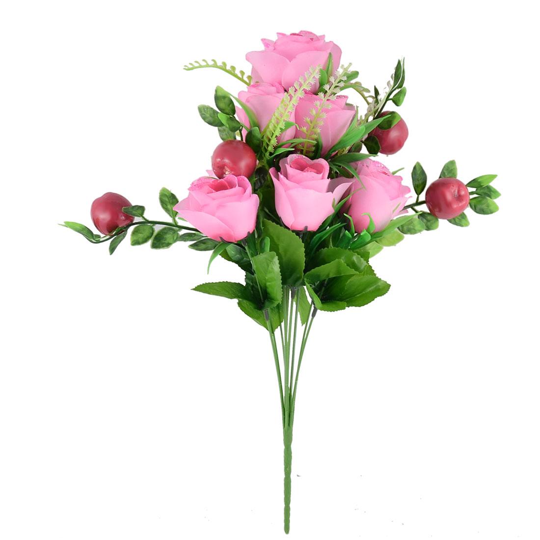 Artificial Emulational Rose Fruit Bouquet Wedding Party Home Decoration Pink