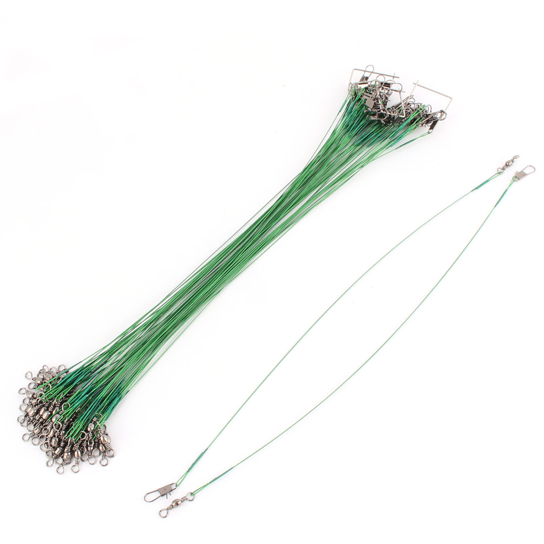 60pcs 25cm Length Stainless Steel Anti-bite Nonbite Fishing String Tackle Wire Lines Pin Ring