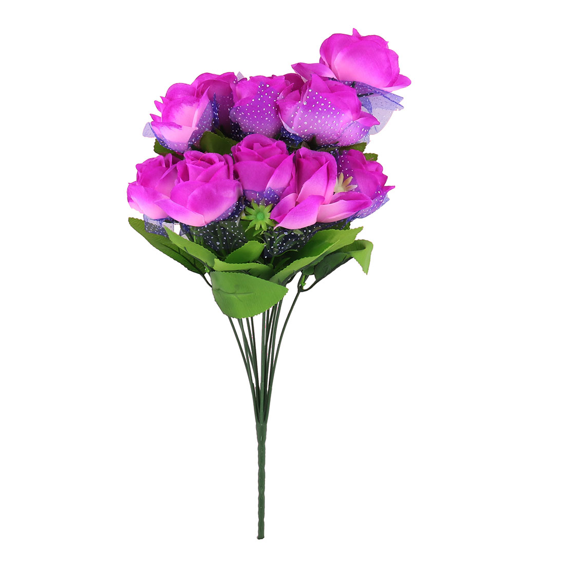 Festival Wedding Party 12 Stems Single Bunch Artificial Flower Bouquet Purple