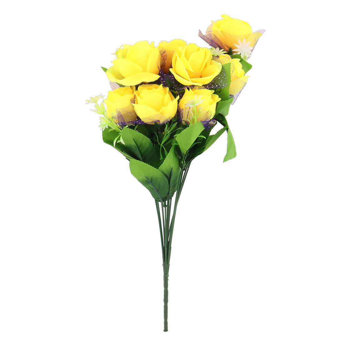 Wedding Restaurant Party Decor Rose Artificial Flower Bouquet Bunch Yellow