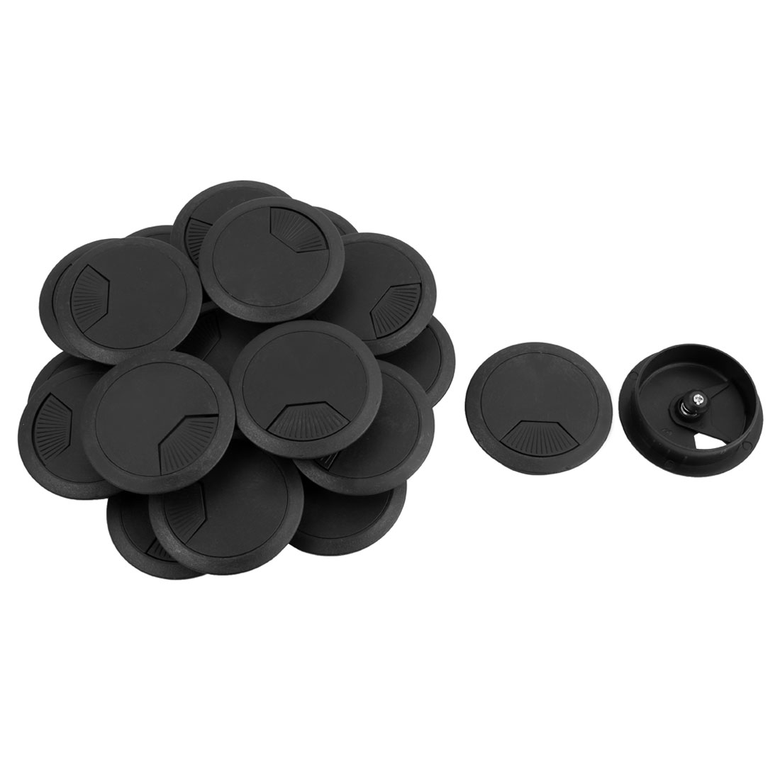 PC Computer Desk Table Round Grommet Tidy Cable Wire Hole Cover Black 50mm Dia 20 PCS