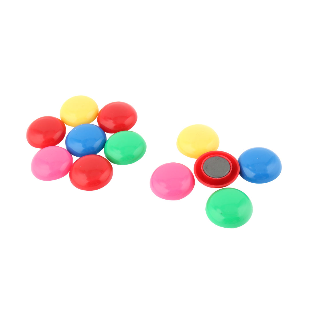 Home Kitchen Fridge Plastic Shell Round Shaped Stationary Magnet Stickers Colorful 12pcs