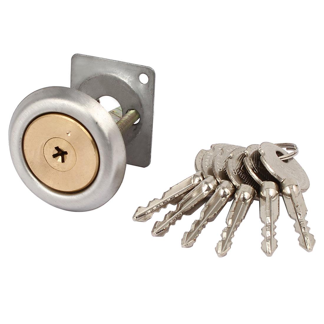 Furniture Closet Door Brass Cylinder Head Plunger Lock w 6 Keys