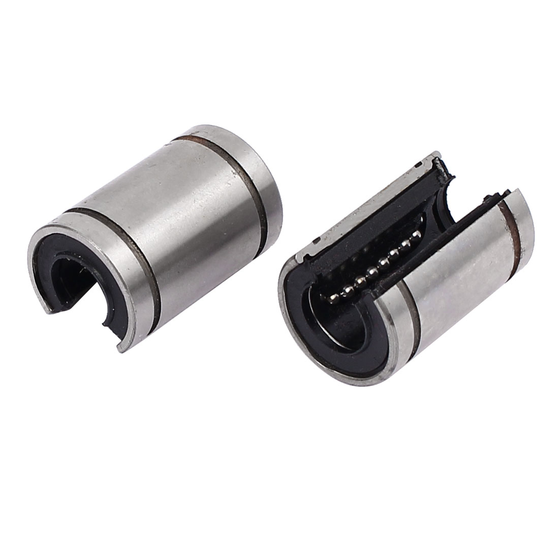 LM10UU 29mm Length Linear Motion Bushing Ball Bearing Silver Tone 2pcs