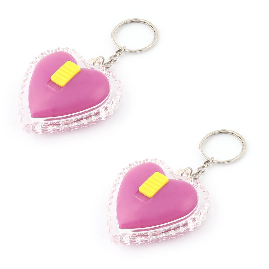 Lady Women Plastic Heart Pendant Metal Chain Key Ring Holder Bag Decoration Purple 2pcs