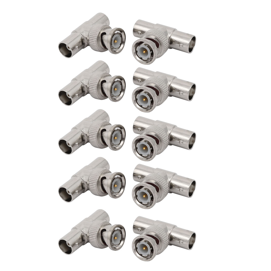 10 Pcs 3-Way BNC Male to 2 x Female Jack T-shape Coax Adapter Connector