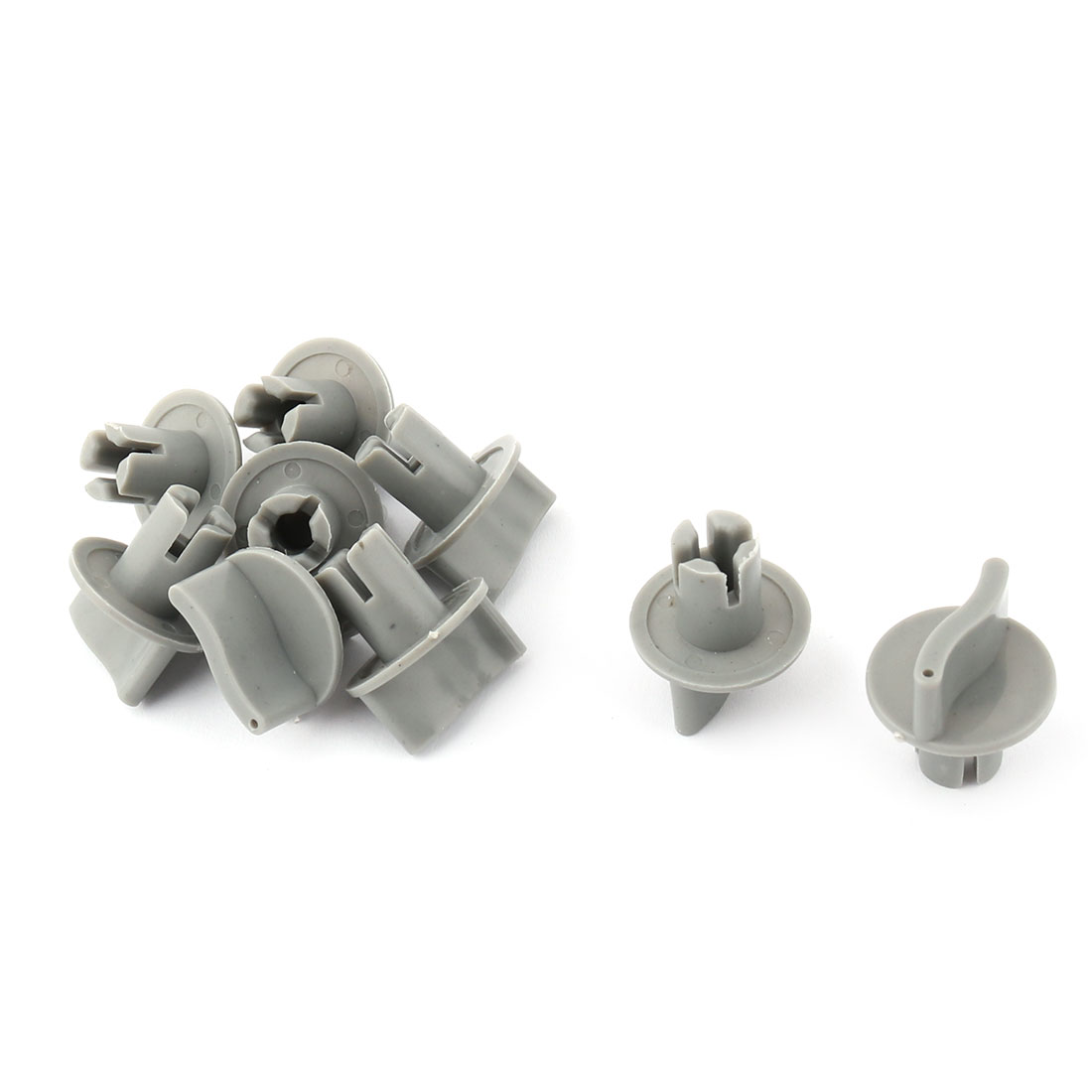 Home Plastic Grip Switch Turning Head Gas Furnace Potentiometer Volume Control Knob Gray 9pcs