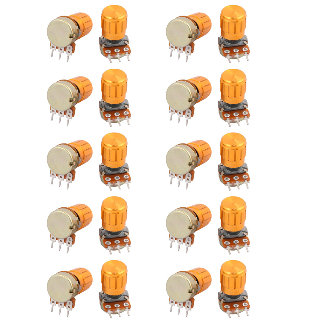 20Pcs WH148 100K Ohm 3 Terminals Rotary Linear Taper Potentiometer with Knob