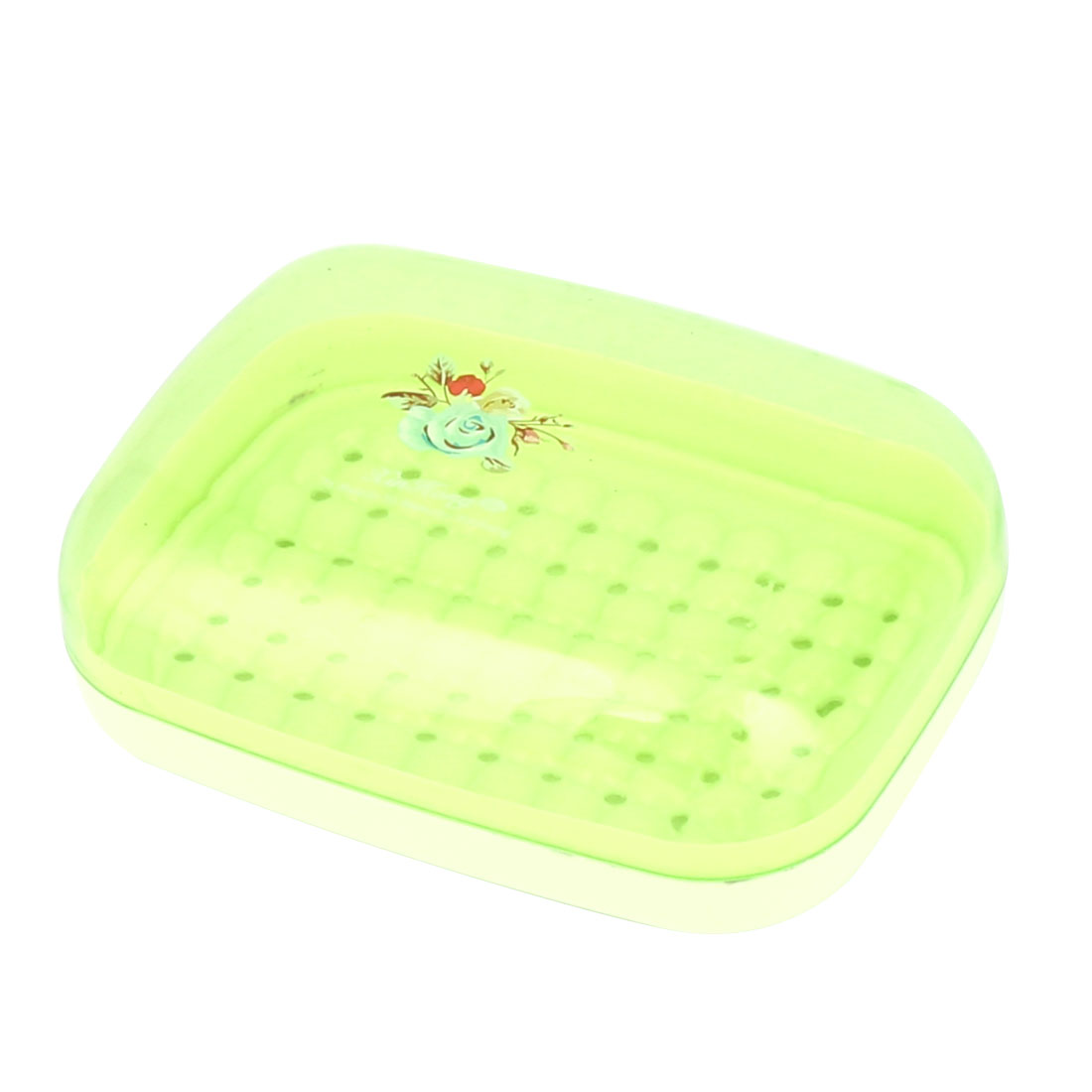 Home Bathroom Hollow Out Base Flower Prints PP Soap Box Holder Case Container Green
