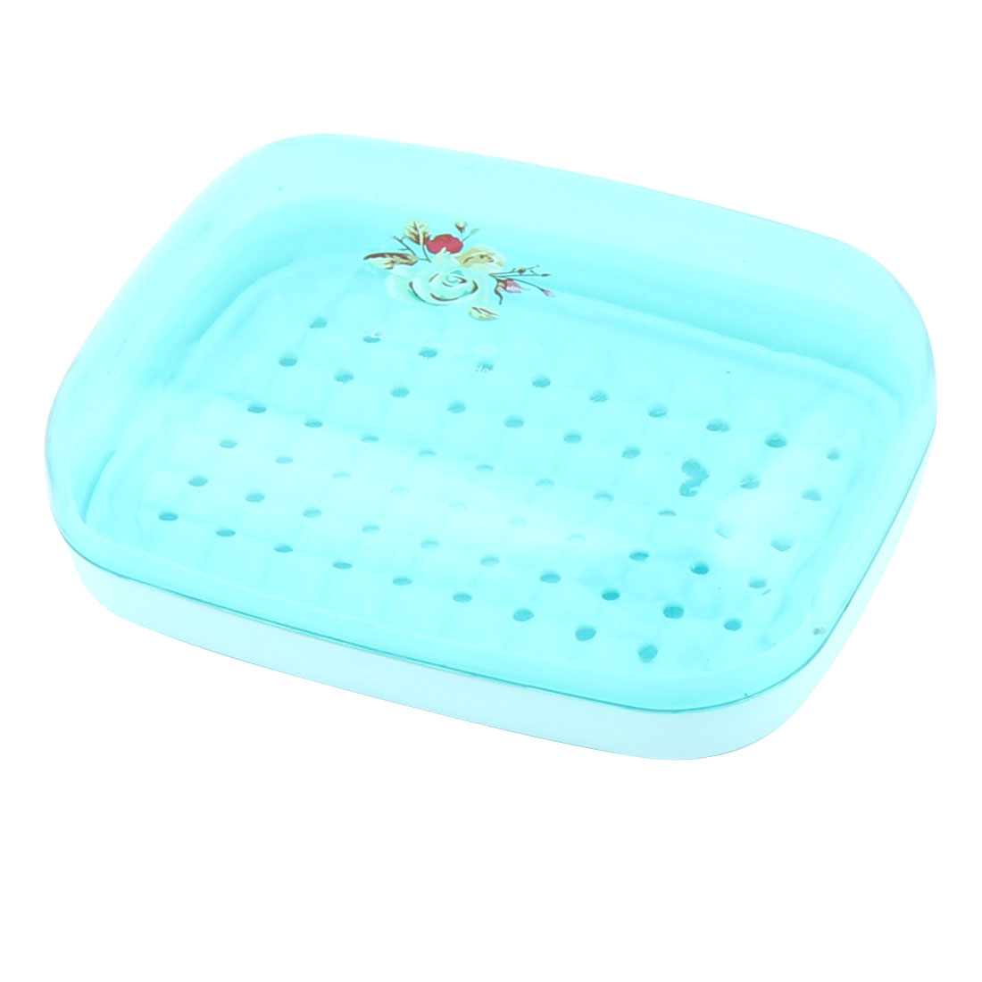 Home Bathroom Hollow Out Base Flower Prints PP Soap Box Holder Case Container Blue