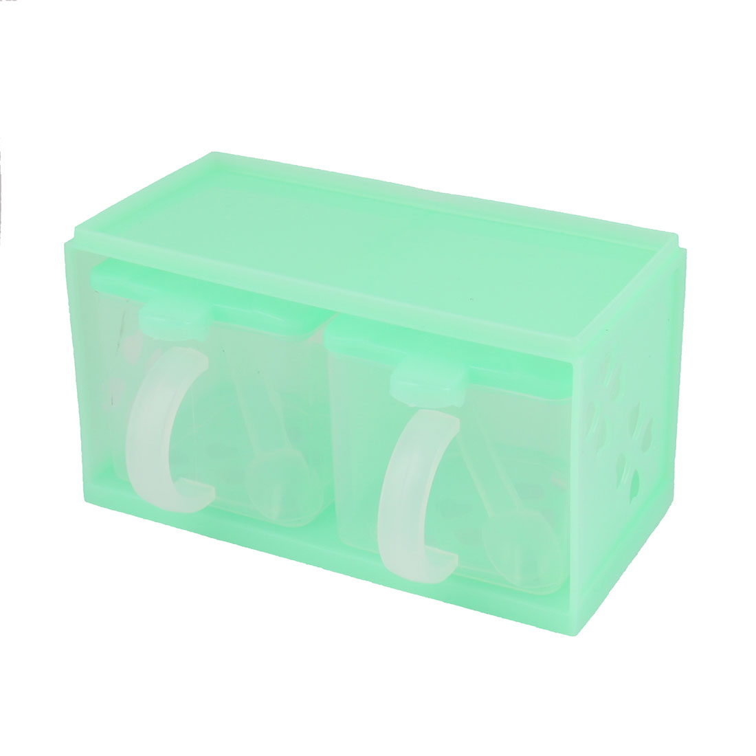 Kitchen Hollow Out Flower PP 2 Compartments Lattices Condiment Spices Container Box Green