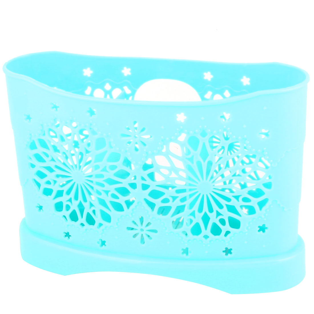 Restaurant Kitchen Hollow Out Flower Plastic 3 Compartments Spoon Fork Chopsticks Holder Cage Box Sky Blue