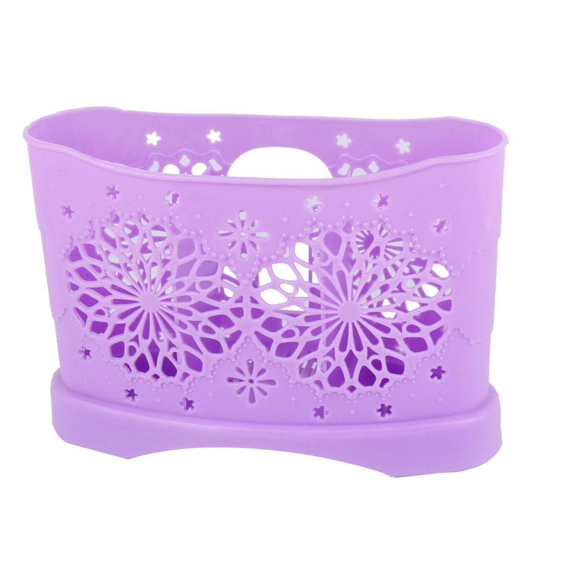Home Restaurant Kitchen Hollow Out Flower Plastic 3 Compartments Spoon Fork Chopsticks Holder Cage Box Purple
