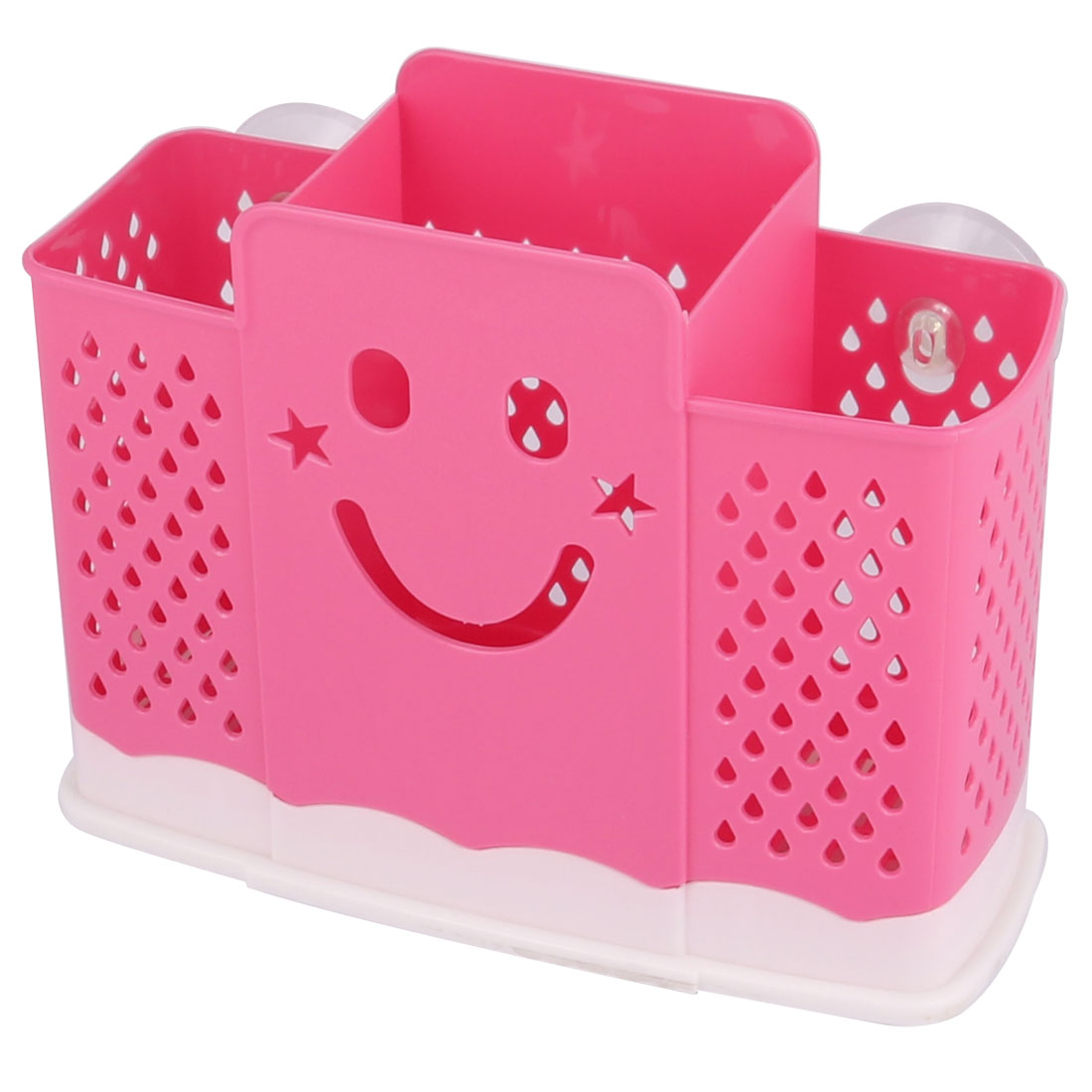 Kitchen Hollow Out Plastic 3 Compartments Wall-mounted Rice Scoop Spoon Chopsticks Holder Cage Basket Oraganizer Pink